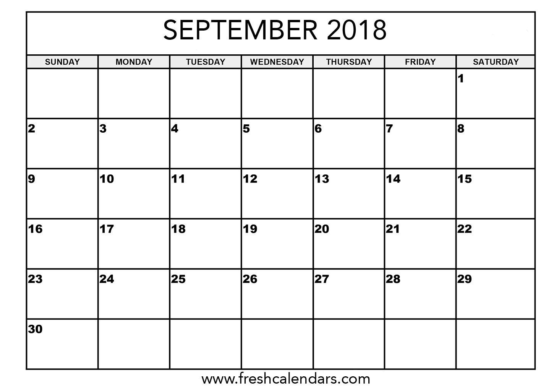 September 2018 Calendar Printable - Fresh Calendars in Calendar For Month Of September