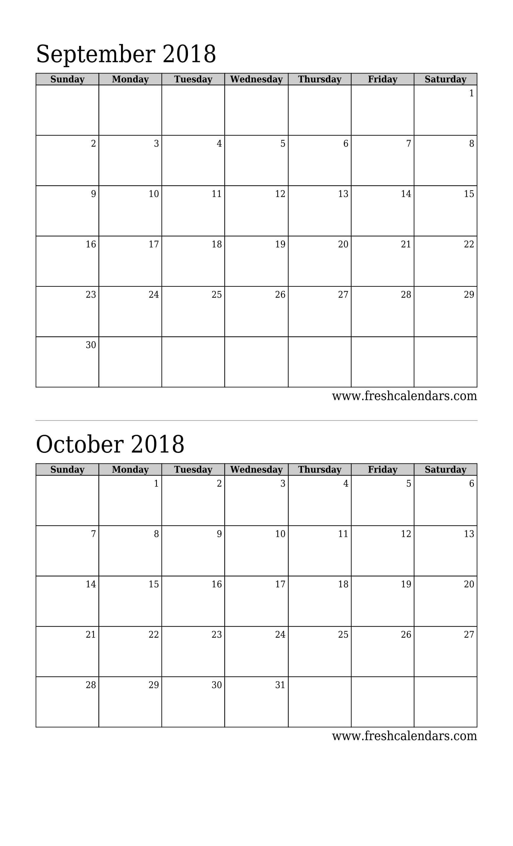 September 2018 Calendar Printable - Fresh Calendars inside Calendar For The Month Of September