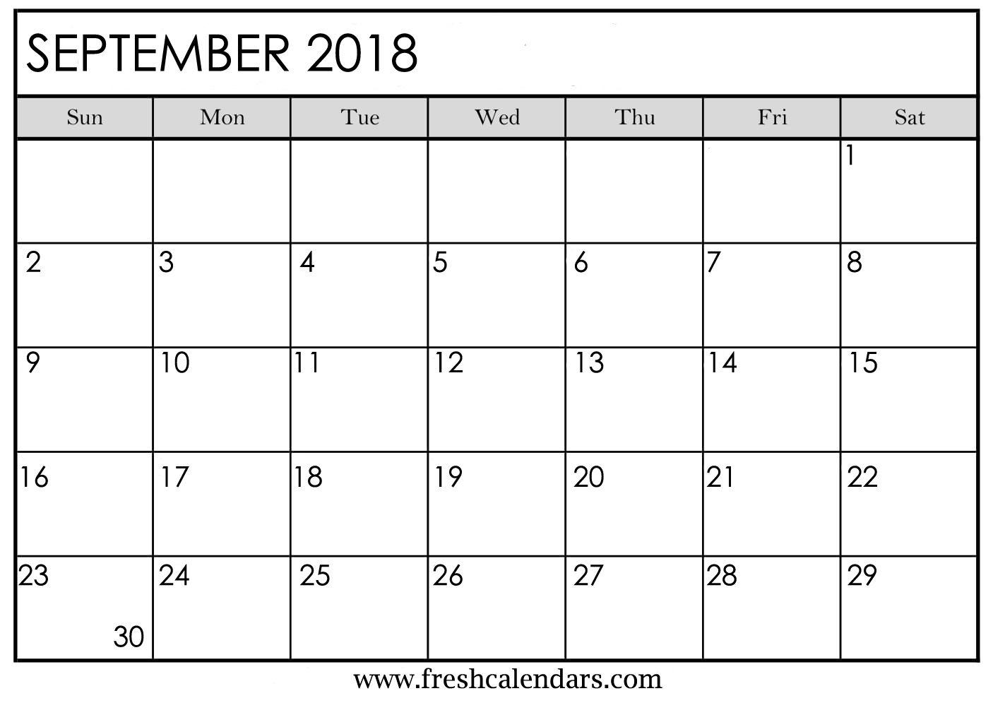 September 2018 Calendar Printable - Fresh Calendars throughout Calendar Of The Month Of September