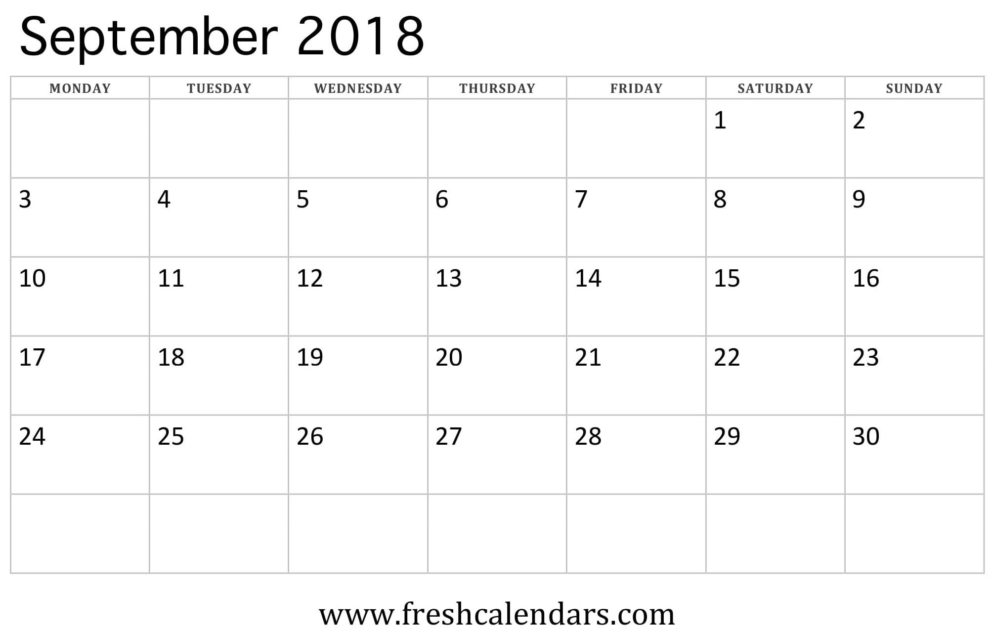 September 2018 Calendar Printable - Fresh Calendars throughout Month Calendar Beginning On Monday