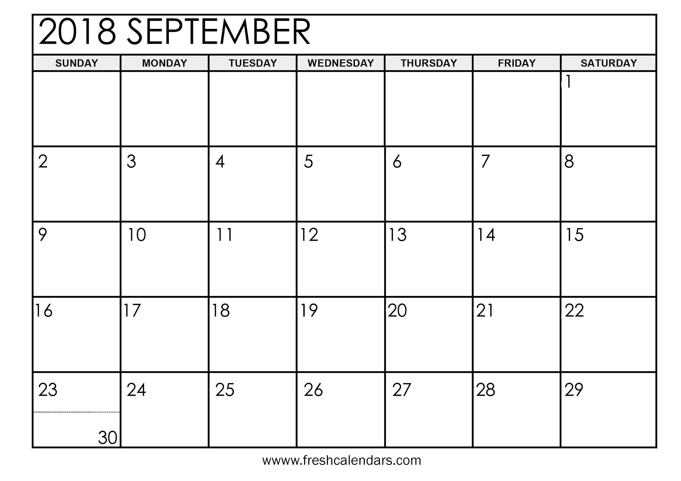 September 2018 Calendar Printable - Fresh Calendars throughout Print Out Of September Calendar