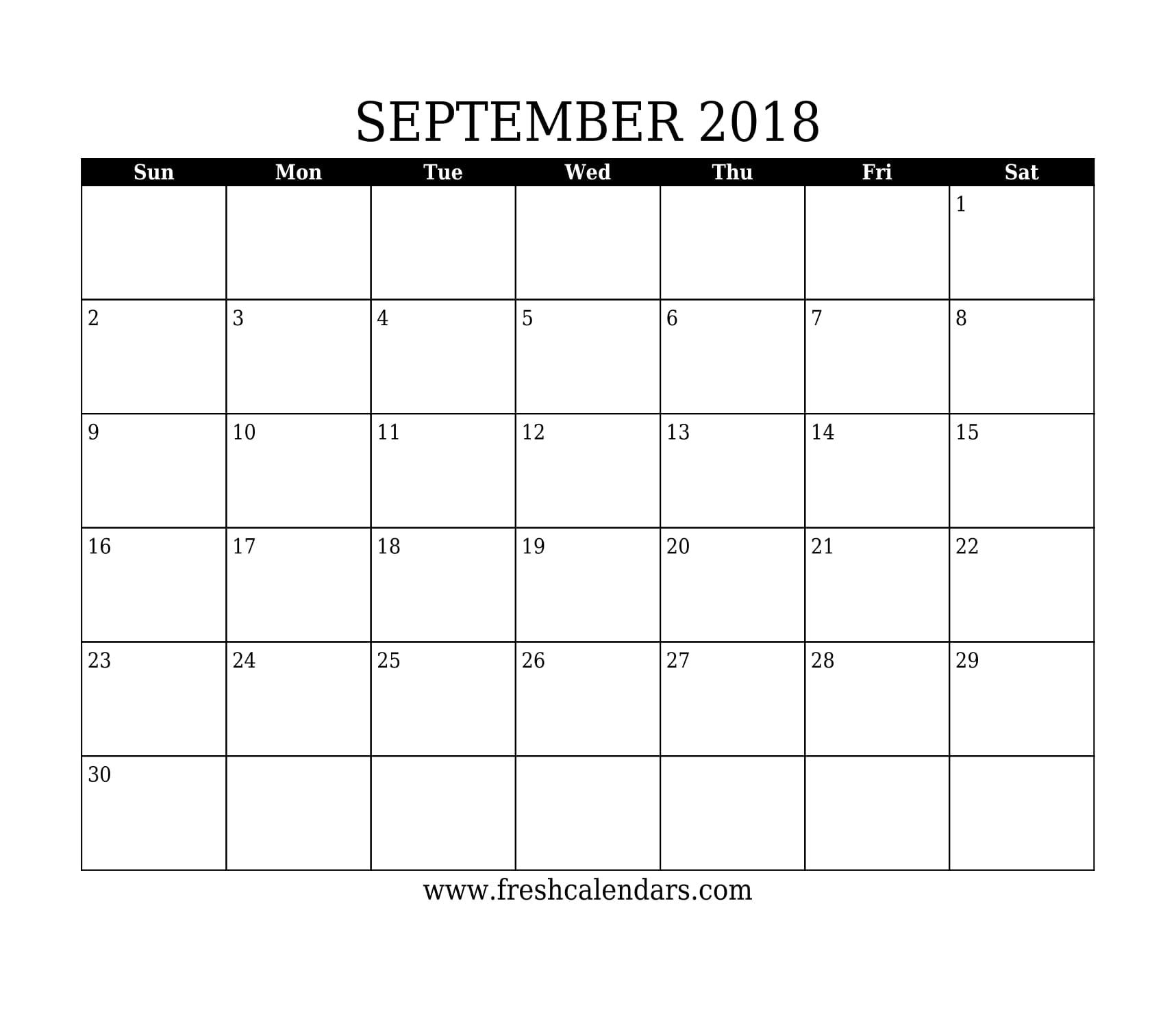 September 2018 Calendar Printable - Fresh Calendars within Calendar For The Month Of September
