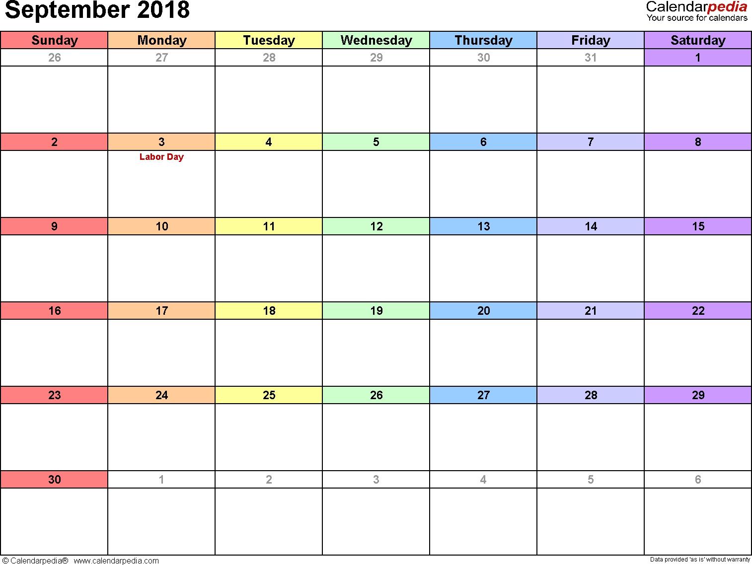 September 2018 Calendars For Word, Excel & Pdf intended for Calendar Of The Month Of September