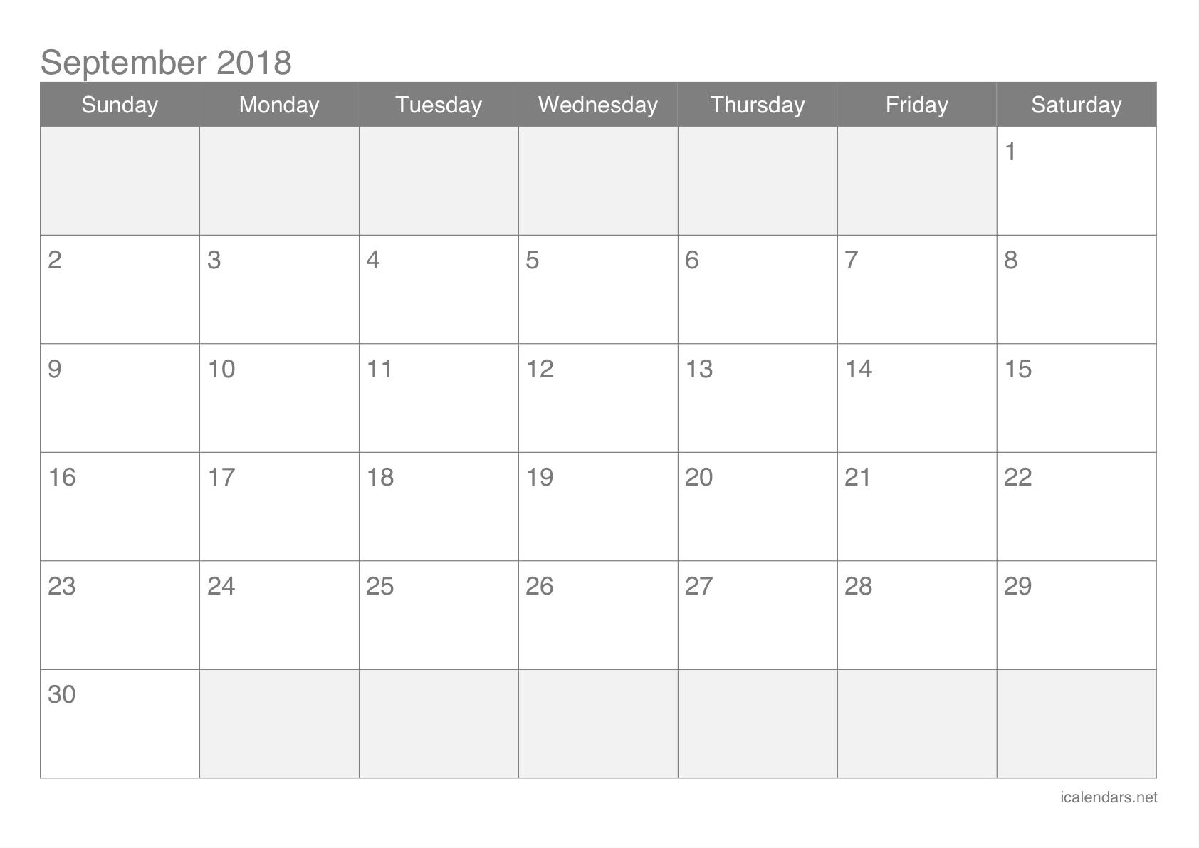 September 2018 Printable Calendar - Icalendars inside Print Out Of September Calendar