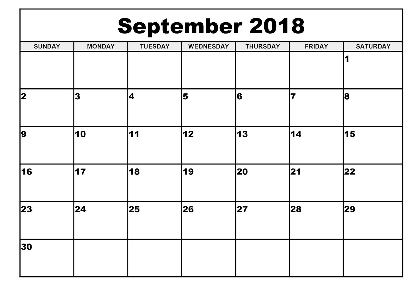 September 2018 Printable Calendar | Year Printable Calendar for Print Out Of September Calendar