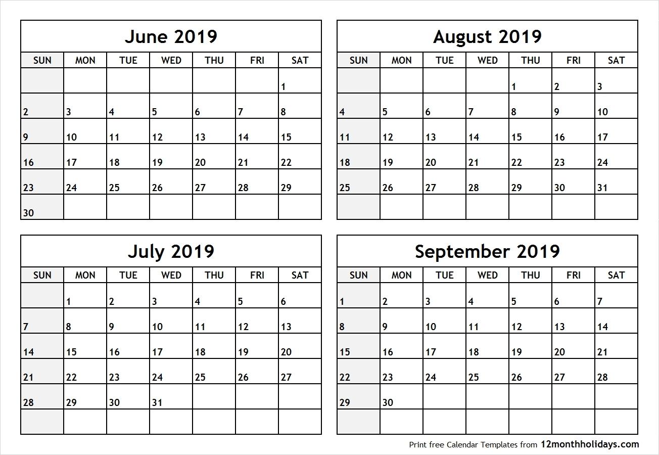 September 2018 To June 2019 Calendar   Template Calendar Printable within August And Sept Monthly Calendar
