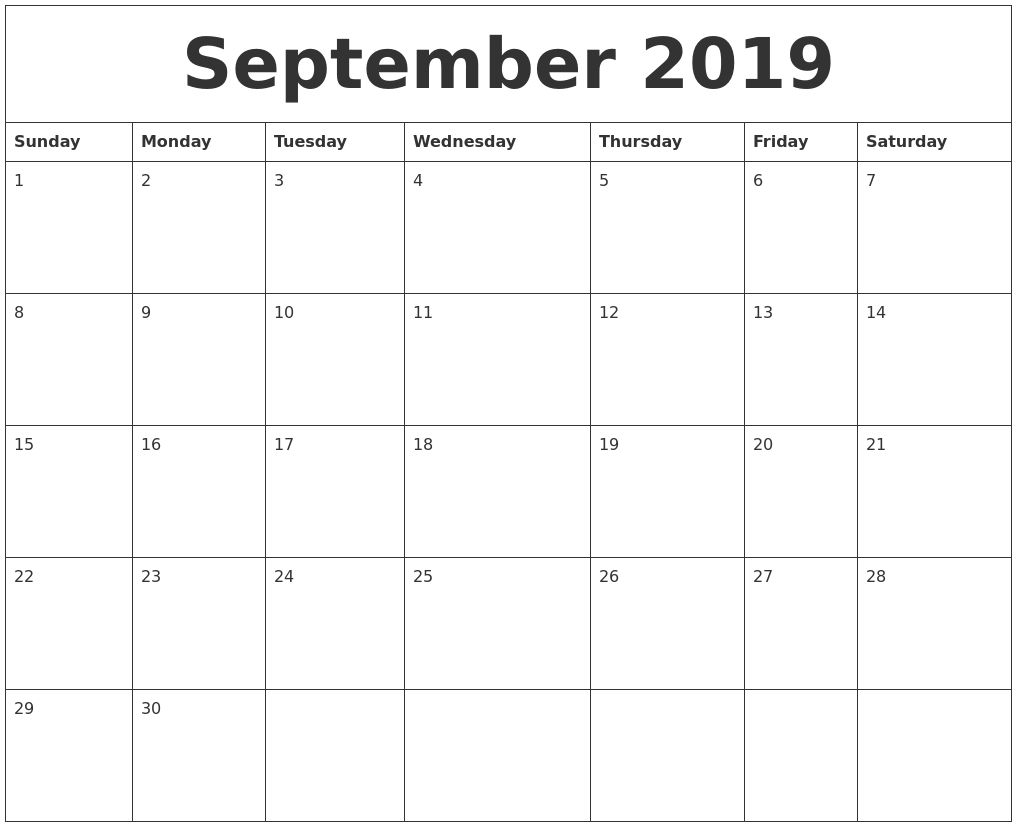 September 2019 Calendar Template | Printable Calendar Template with Calendar Template With 194 Days