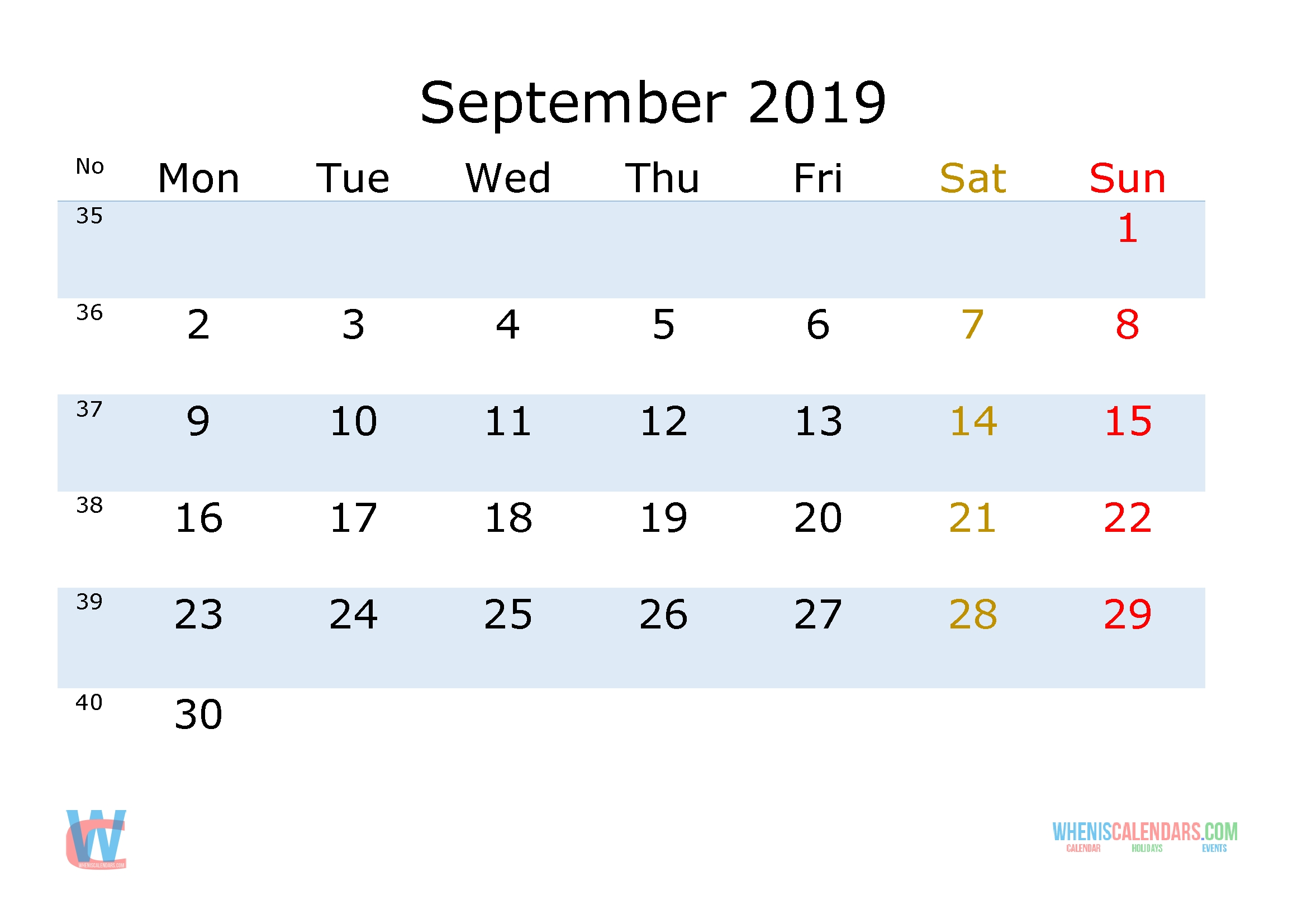 September 2019 Printable Monthly Calendar With Week Numbers [Monday regarding Week By Week Mowing Calendar Templates