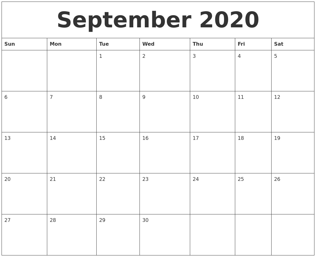 September 2020 Monthly Printable Calendar in Print Calendar Month Of September