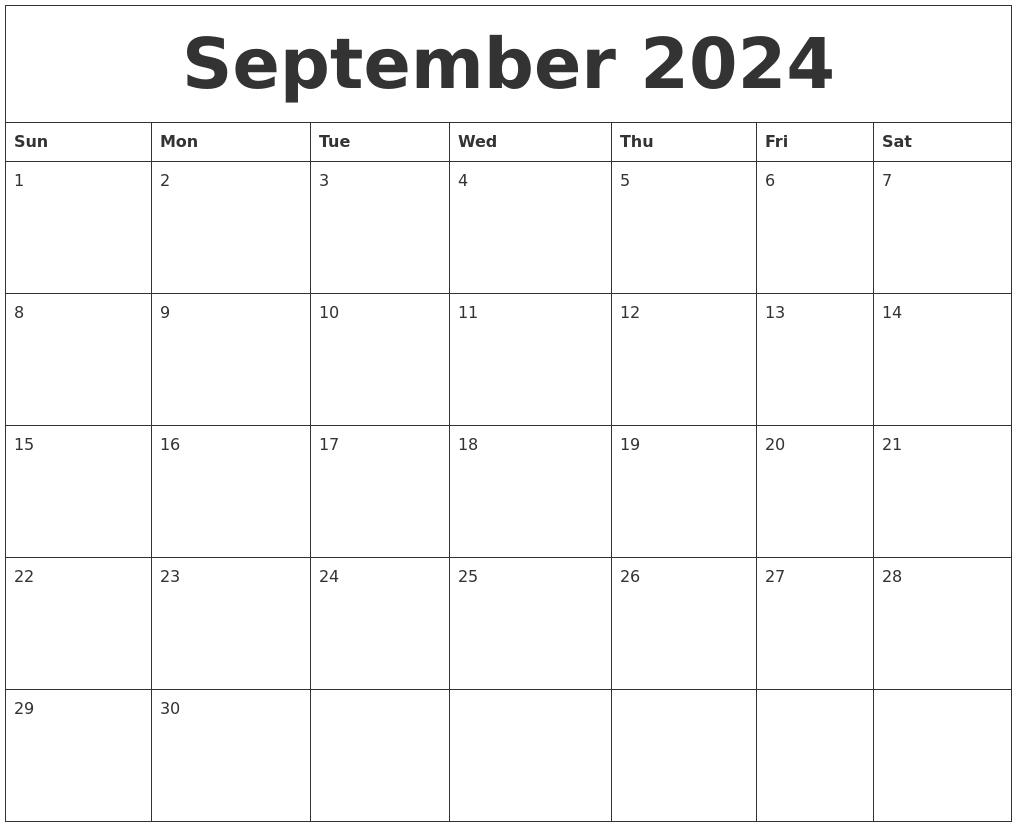 September 2024 Free Printable Calendar Templates pertaining to Free Printable Monthly Calendar Editable