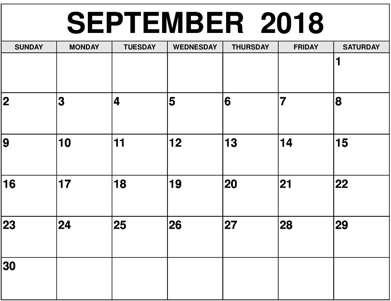 September Month Calendar 2018 for Calendar For Month Of September