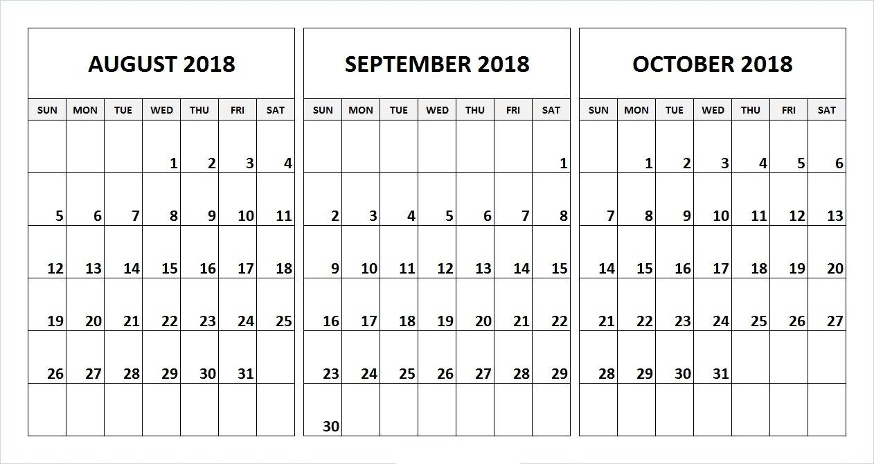 September October November 2018 Calendar | October 2018 Calendar pertaining to 3 Month Blank Calendar Template