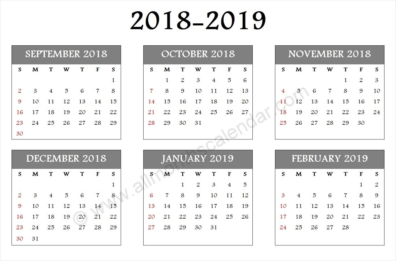 September October November December 2018 January February 2019 Calendar regarding Month Calendar Printable Sept Oct Nov Dec