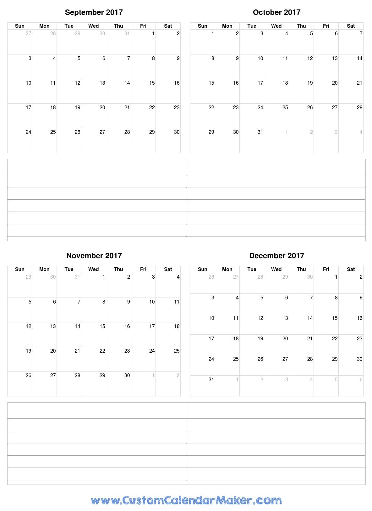 September To December 2017 Calendar Printable For Free pertaining to Printable Nov Dec 17 Calendar