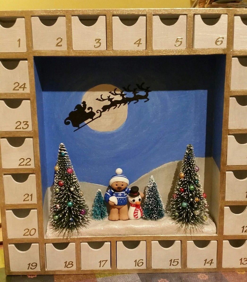 Shadow Box Advent Calendar | My Creations | Advent Calendar regarding Wooden Shadow Box Advent Calendar