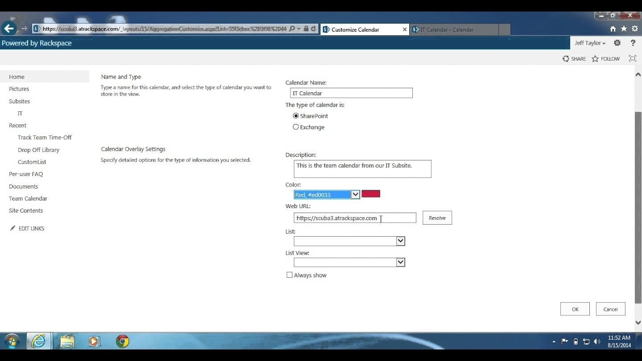 Sharepoint 2013: How To Create A Calendar Overlay - Youtube with regard to Sharepoint 2013 Calendar Overlay Settings