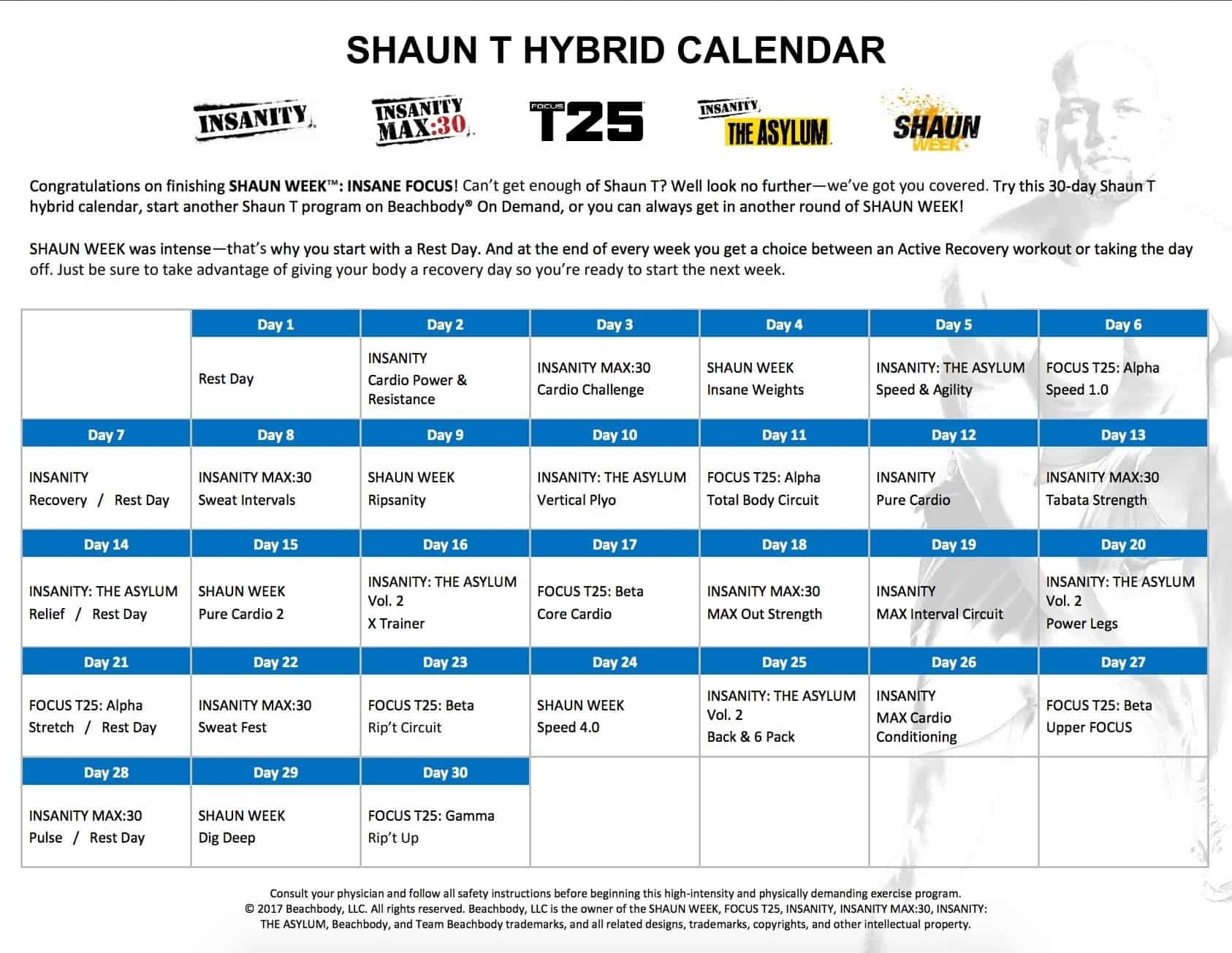 Shaun T Week Insane Focus [Instant Access To 7 Workouts] with Insanity Max 30 Calendar Pdf
