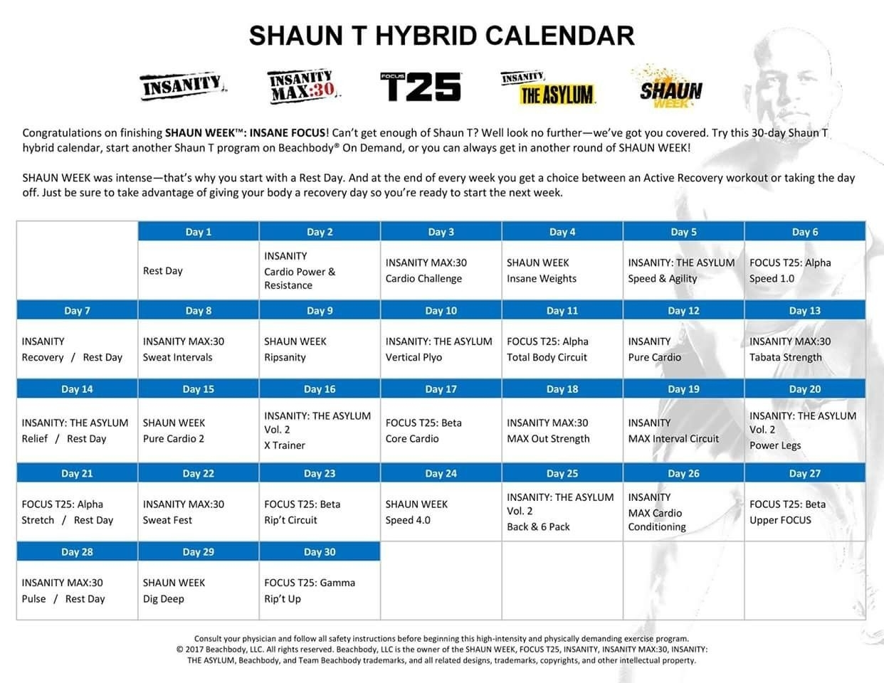 Shaun Week Monthly Calendar #2 Calendrier Hybride Mensuel | Exercise intended for Insanity Max 30 Calendar Month 2