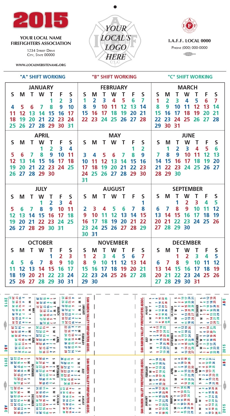 Shift Calendars — Firefighters Print & Design in 48 Hours Fire Shift Schedule