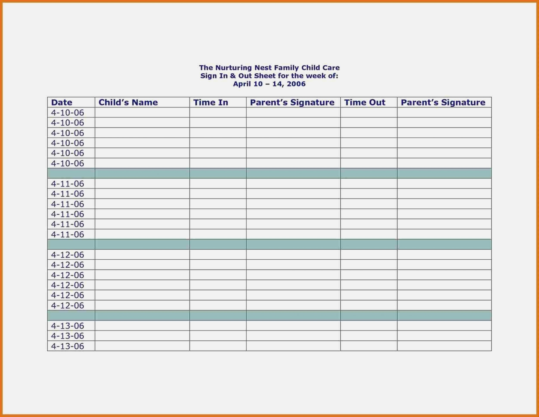 Sign Inet Template Attendance Form Rhmughalsinfo Himama Childcare intended for Day Care Attendance Sheet Template