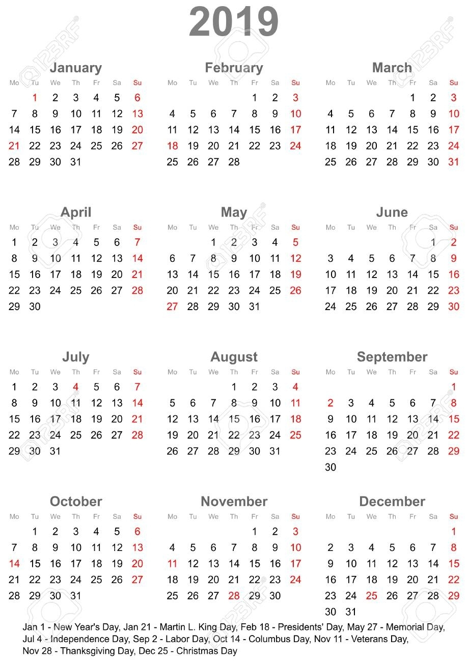 Simple Calendar 2019 - One Year At A Glance - Starts Monday With with Year In A Glance Calendar
