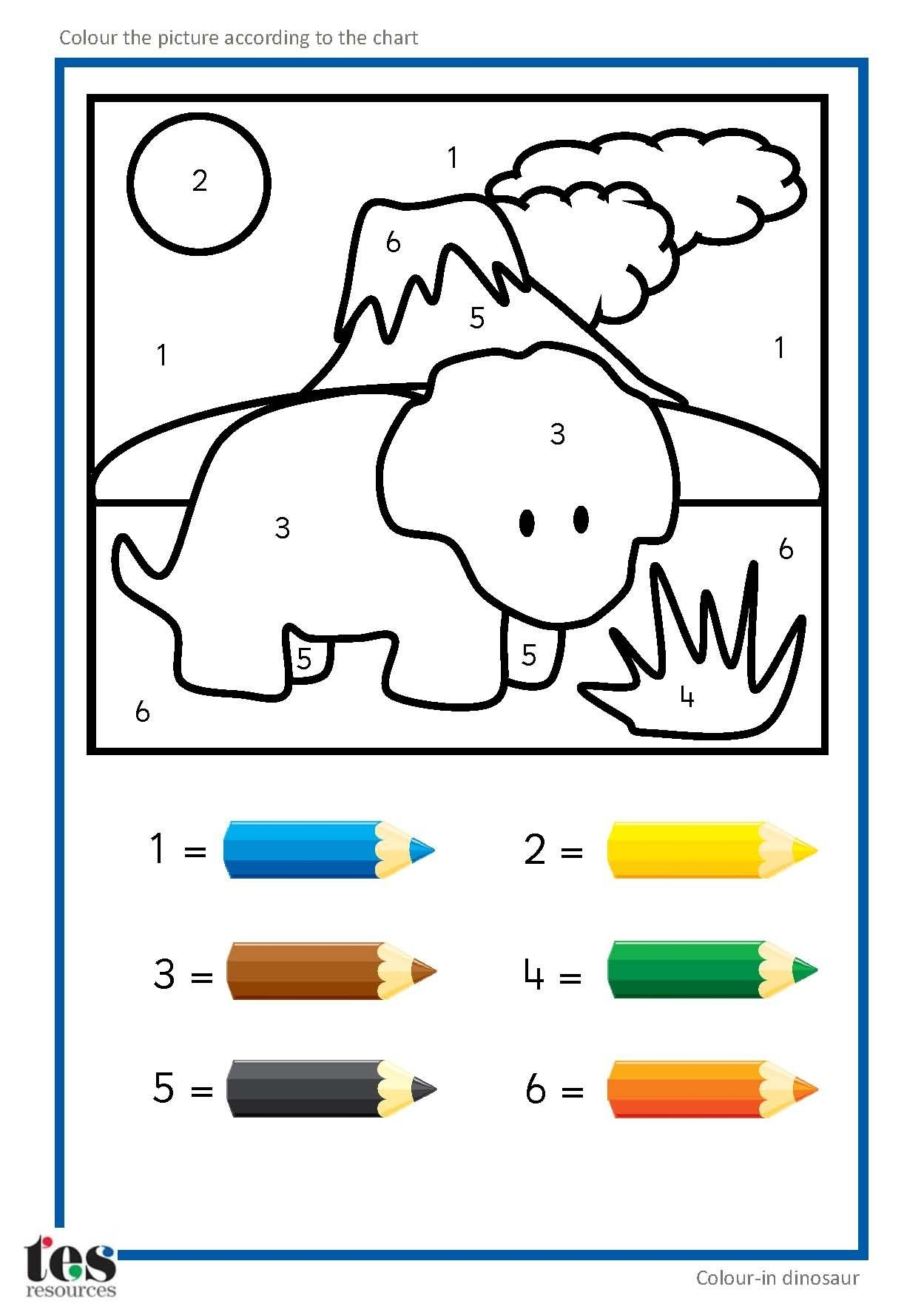 Simple Colournumbers Dinosaur Pictures With Clear Visuals. Each with regard to Colouring In Square Sheets For Year Three No Color