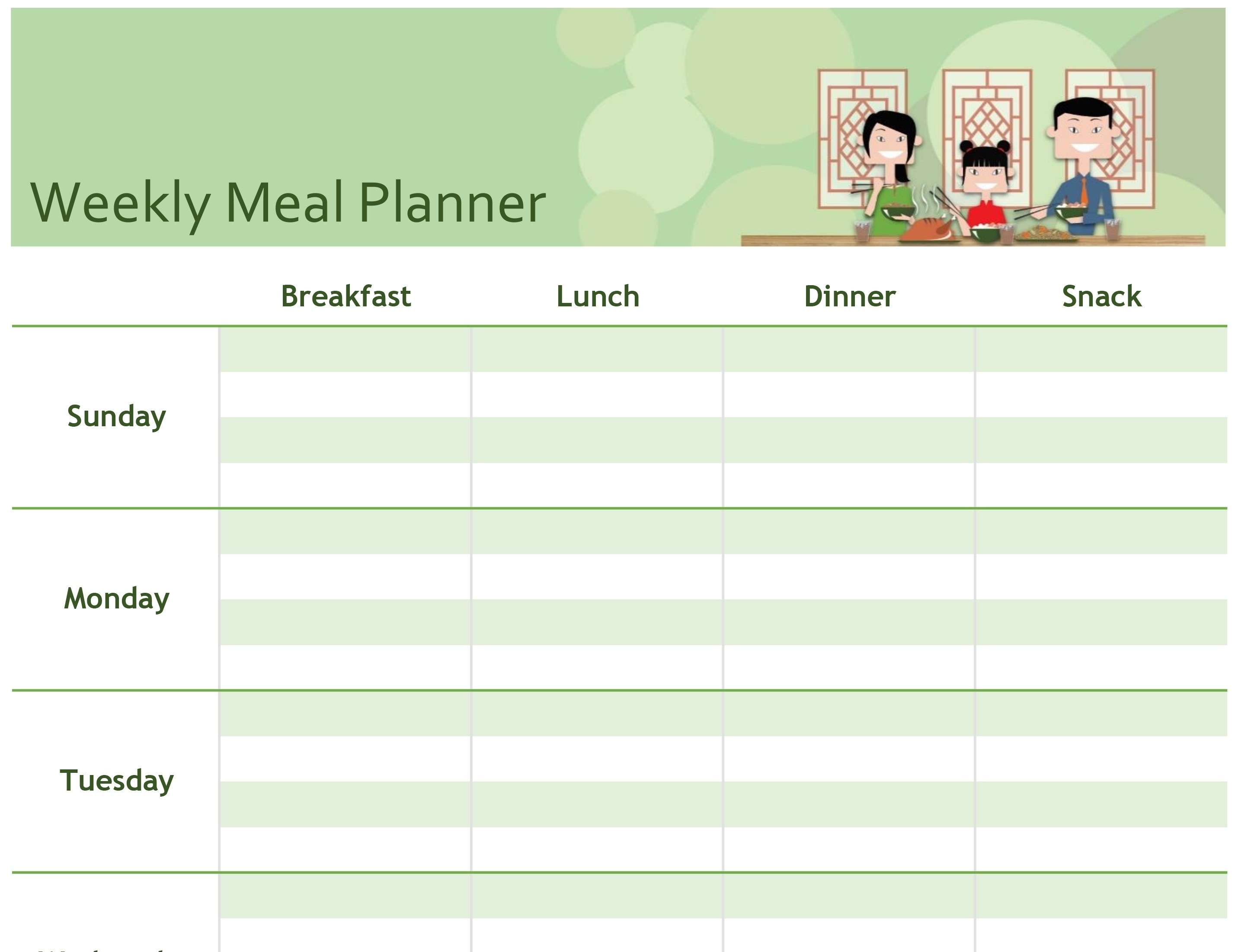 Simple Meal Planner pertaining to 1 Week Menu Calendar Template