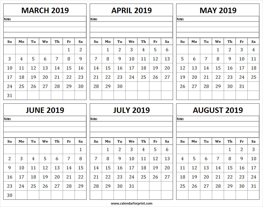 Six Month March August 2019 Calendar Templates | Six Months Calendar inside Month Of August Calendar With Lines