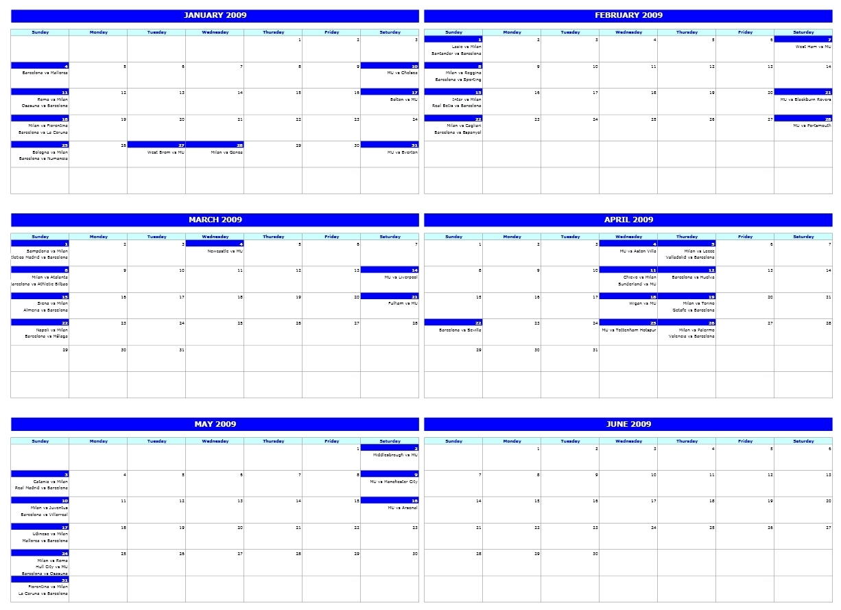 Six-Monthly Calendar with Template For Montlhy Calendar Of Events