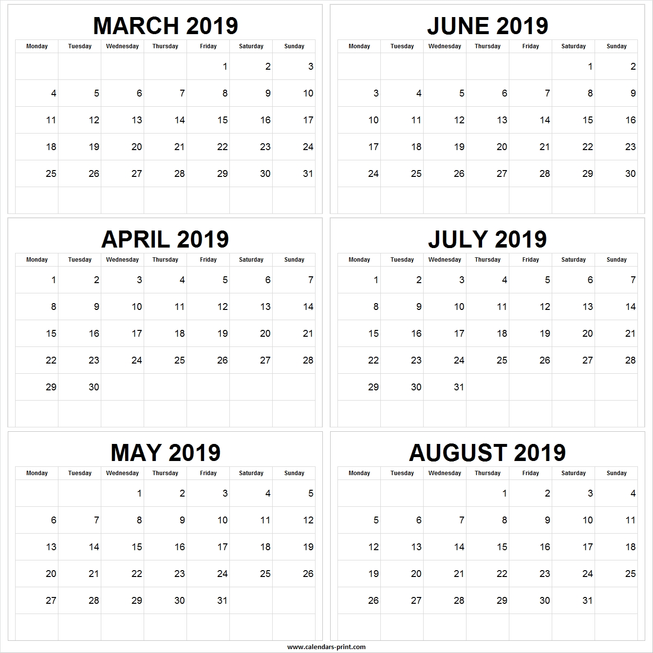 Six Monthly March April May June July August 2019 Calendar Template with Printable July Through August On One Page Calendars
