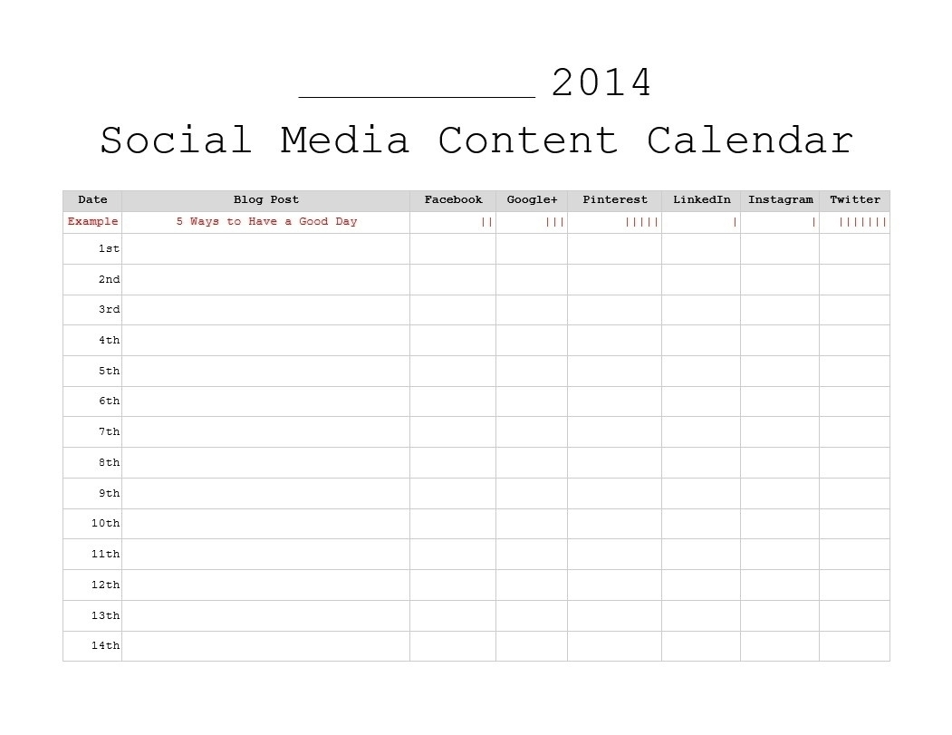 Social Content Calendar Template Monthly | Template Calendar Printable within Social Content Calendar Template Monthly