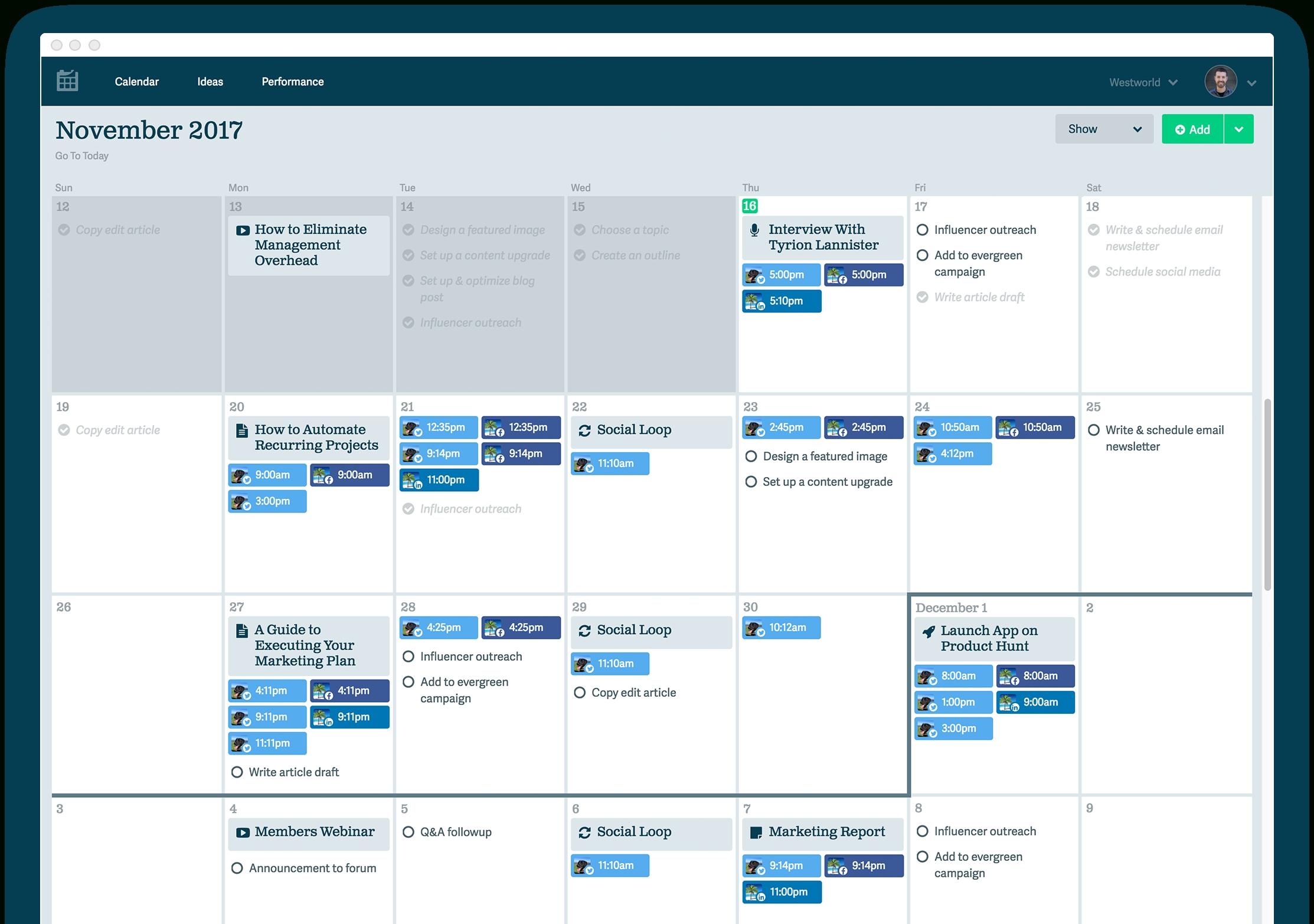 Social Media Calendar • Ops Calendar inside Social Media Content Weekly Schedule