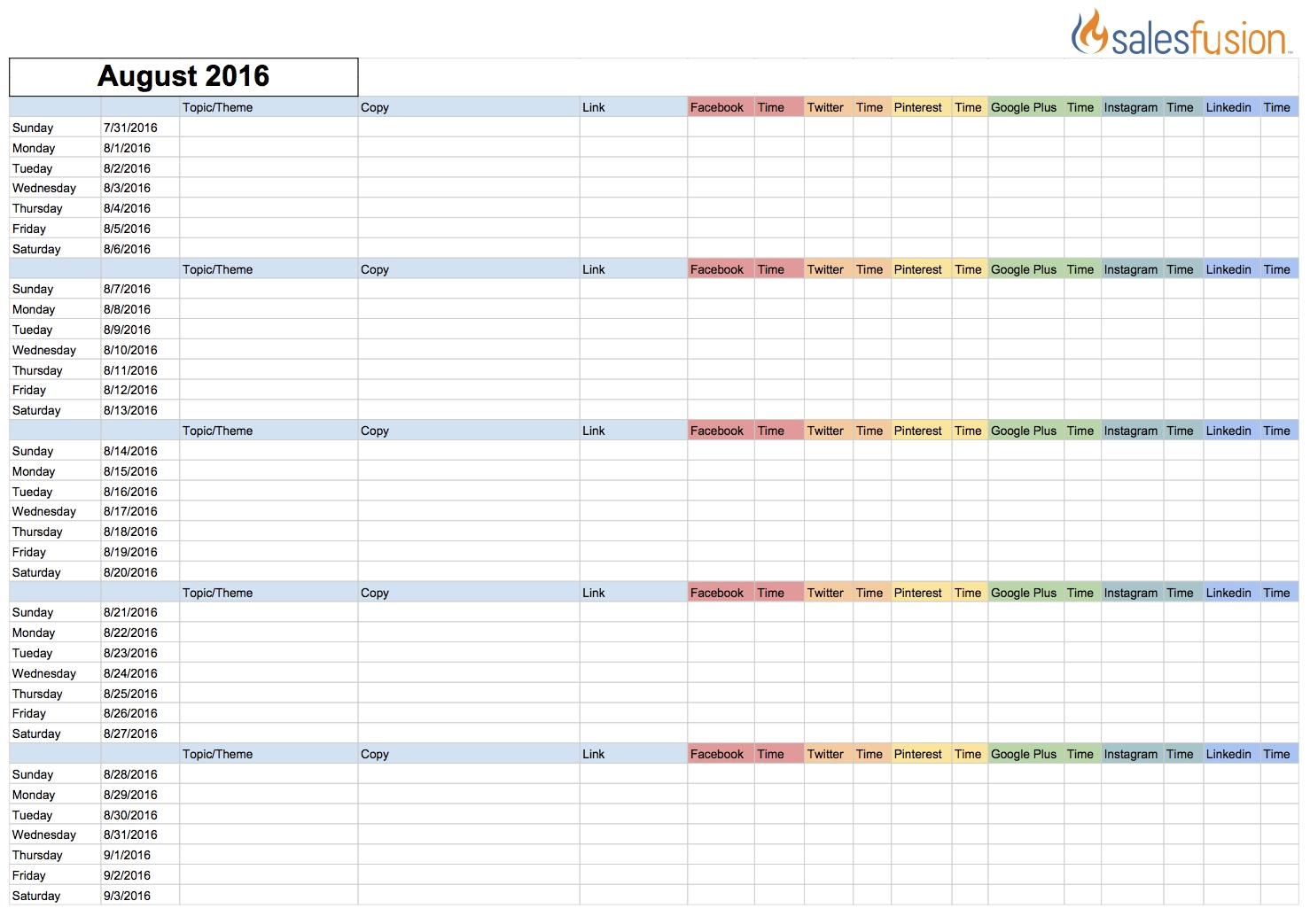 Social Media Content Calendar Template | Salesfusion intended for Social Media Posting Schedule Template