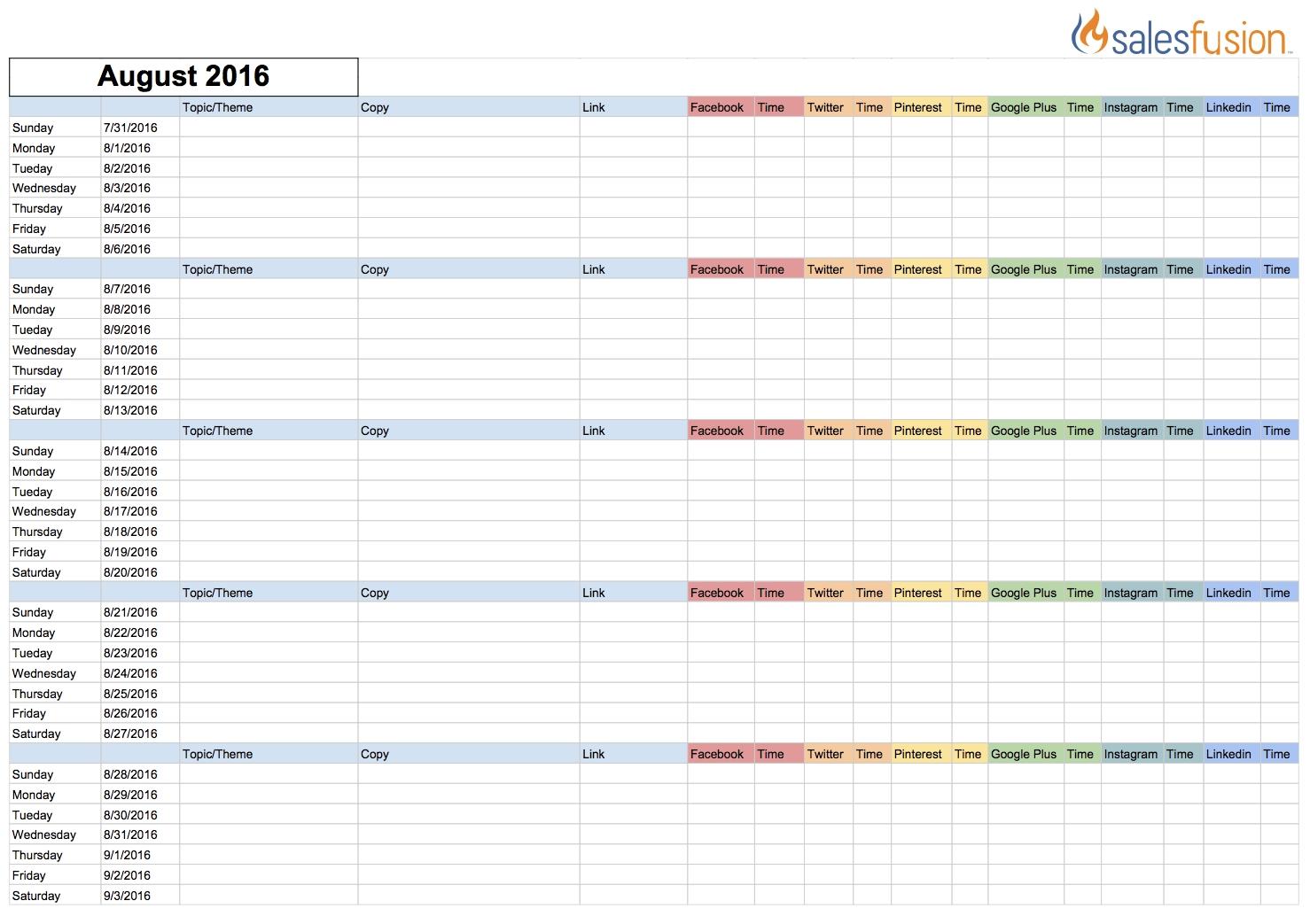 Social Media Content Calendar Template | Salesfusion with Social Media Content Weekly Schedule