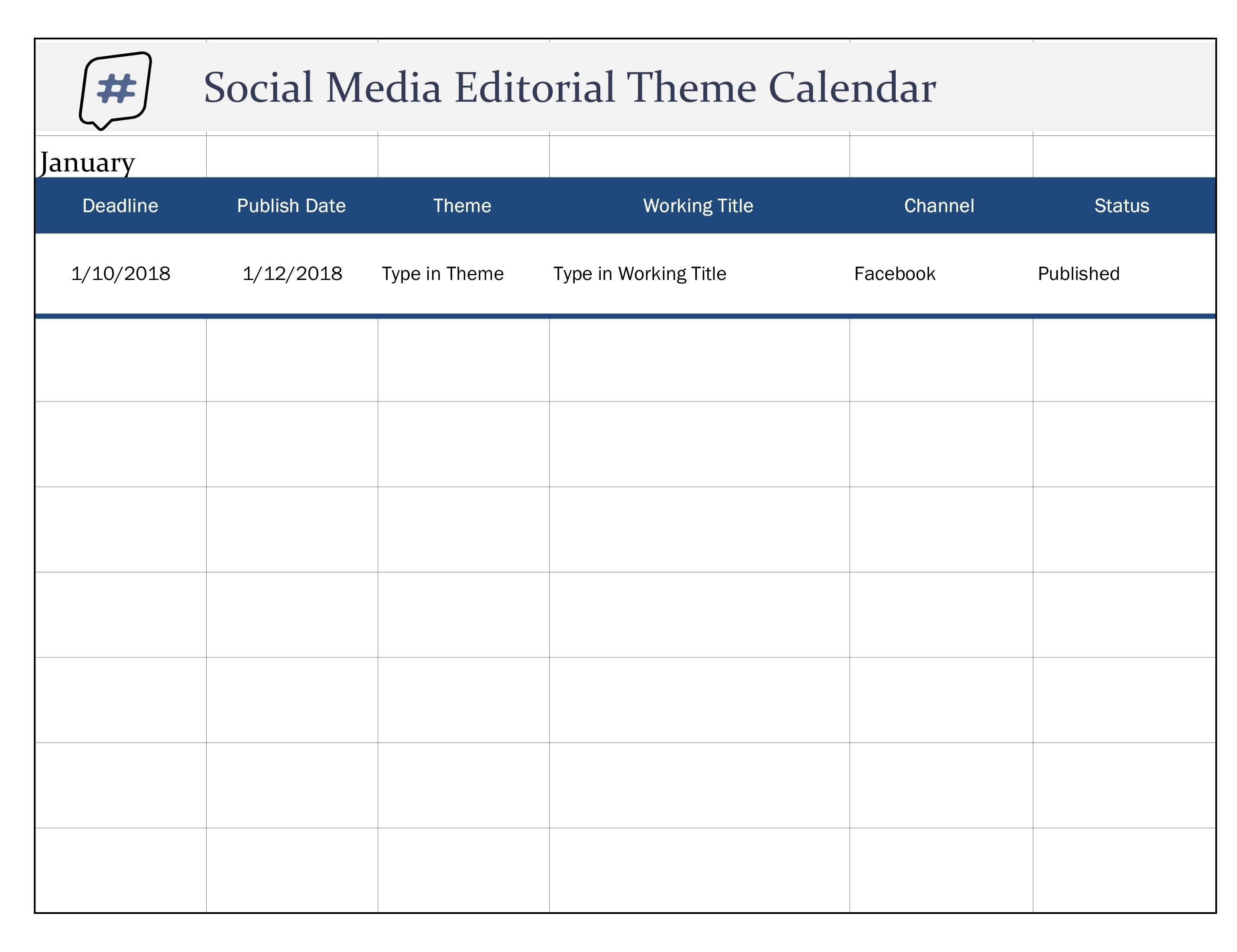 Social Media Editorial Theme Calendar Excel intended for Social Media Posting Calendar Template Free Printable Excel