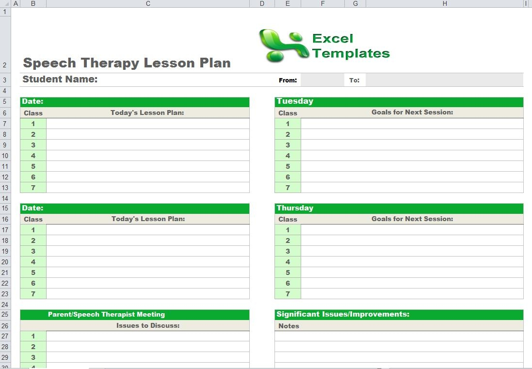 Speech Therapy Lesson Plan Template throughout Speech Language Lesson Plan Template