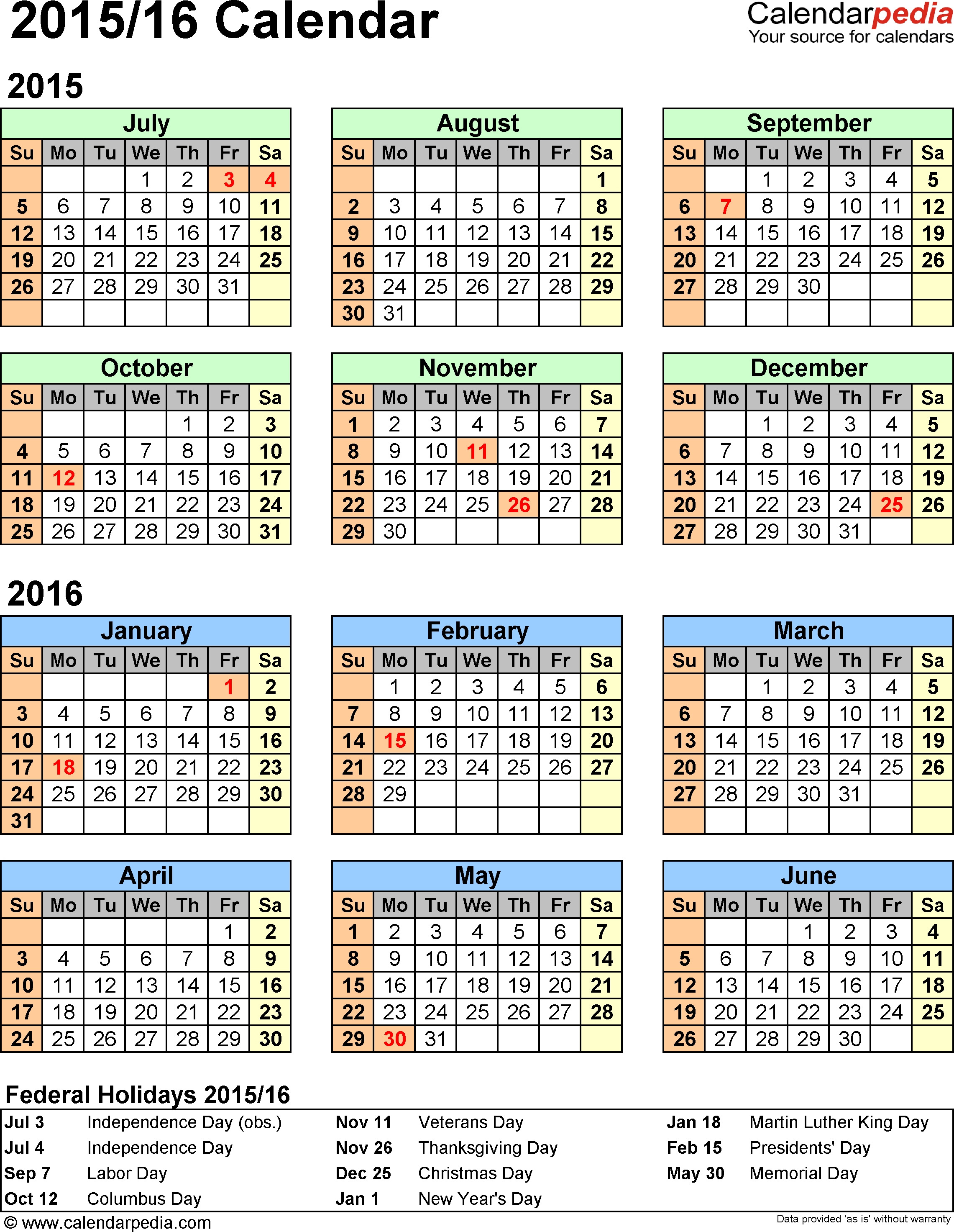 Split Year Calendar 2015/16 (July To June) - Pdf Templates in Printable July Through August On One Page Calendars