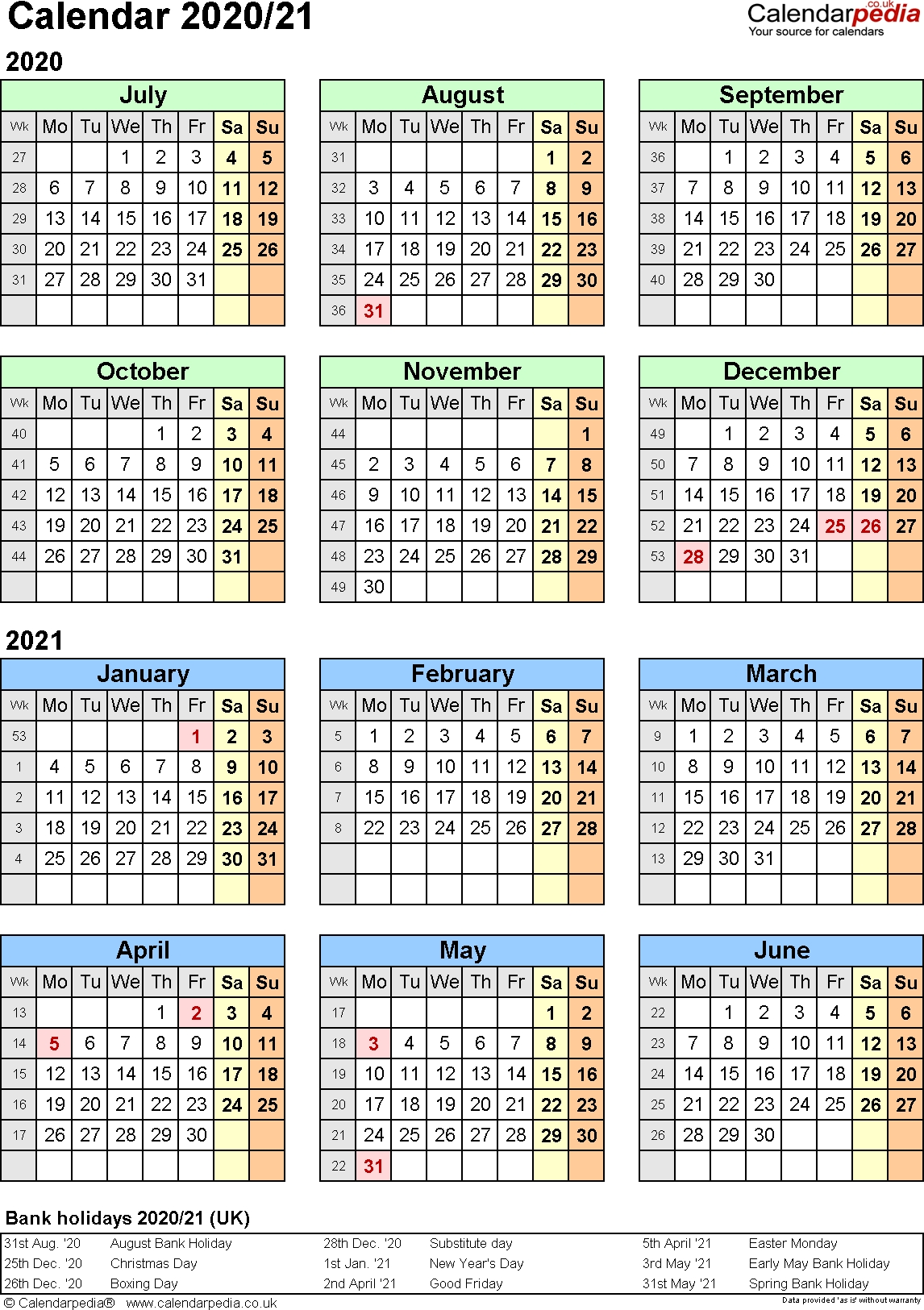 Split Year Calendars 2020/21 (July To June) For Pdf (Uk Version) in Federal Pay Period Calendar 2020