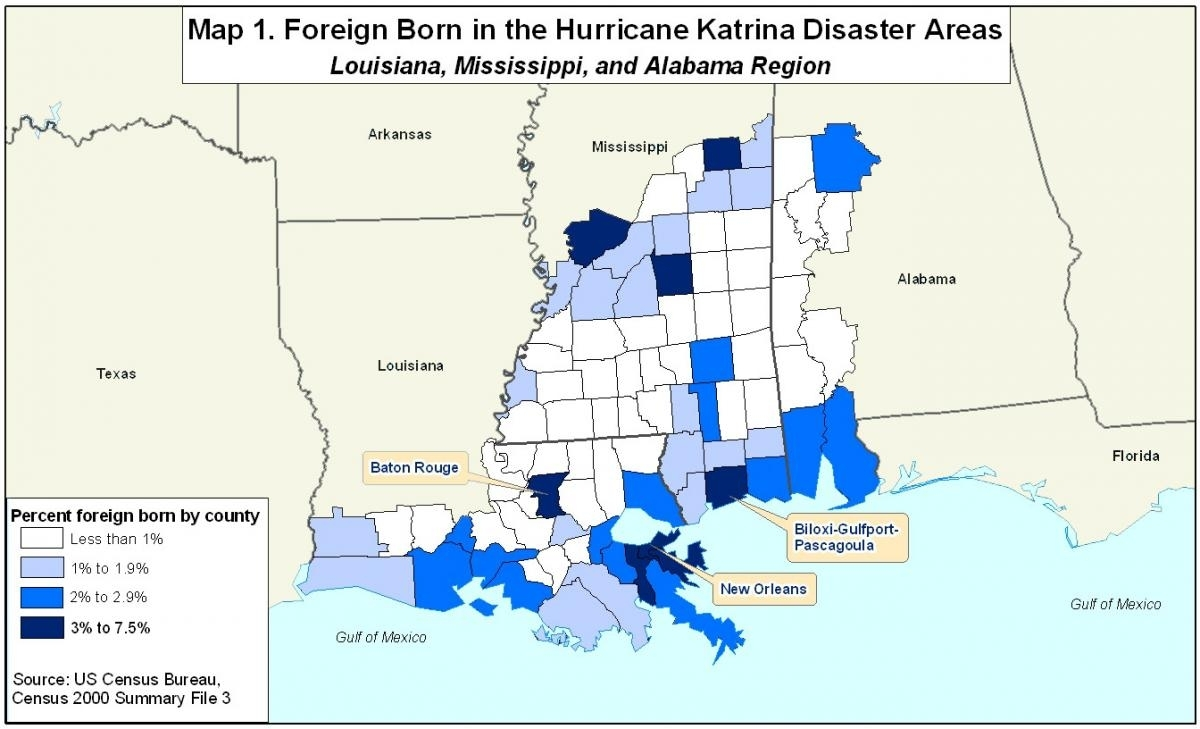 Spotlight On Foreign Born In Areas Affectedhurricanes Katrina throughout Map Of Area Affected By Hurricane Katrina