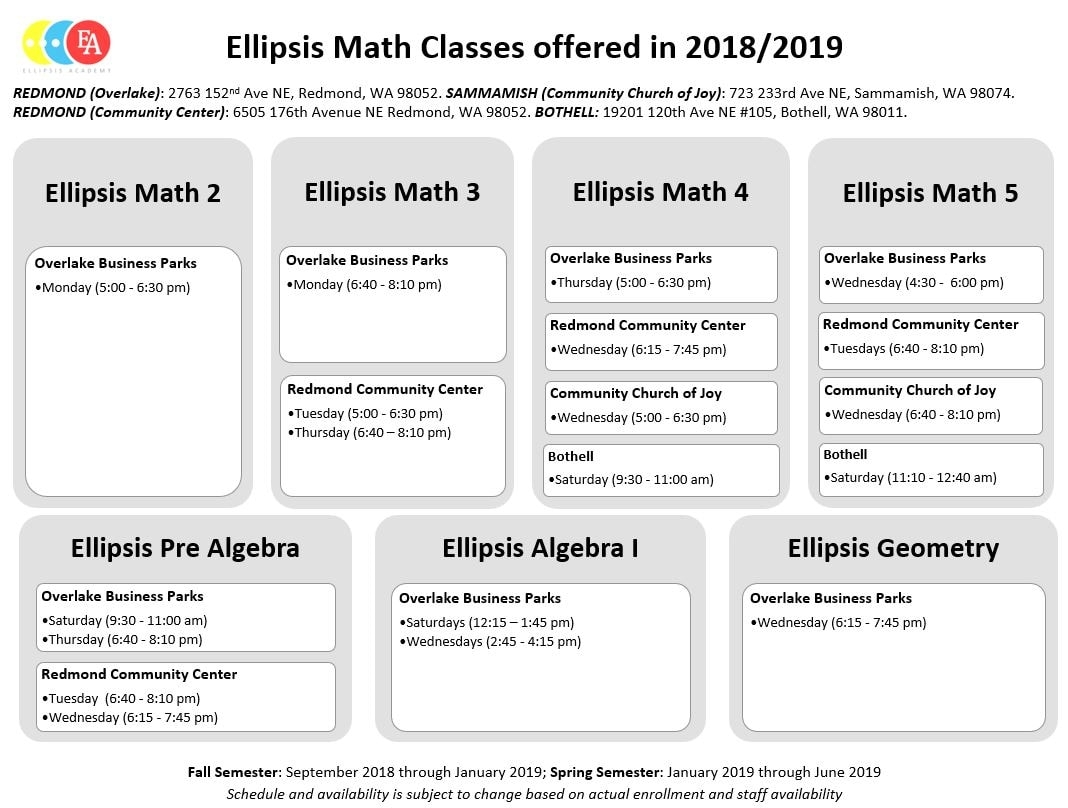 Spring 2019 Ellipsis Math Classes - Ellipsis Academy inside Graphic Organizer For Schedule From Monday To Sunday 5 Am To 9 Pm
