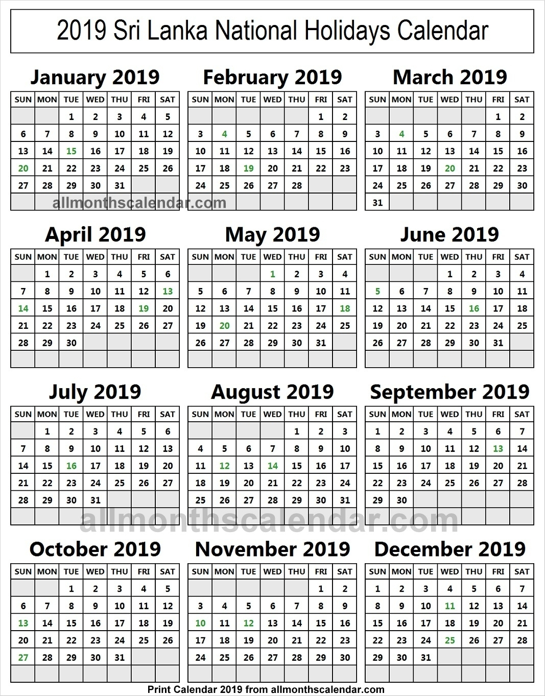 Sri Lanka Holiday List 2019 Calendar | 2019 Sri Lanka Calendar within List Ofhoidays In Sri Lanka