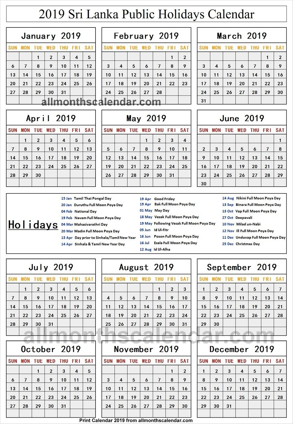 Sri Lanka Holiday List 2019 | Holidays Calendar 2019 | Sri Lanka within List Ofhoidays In Sri Lanka