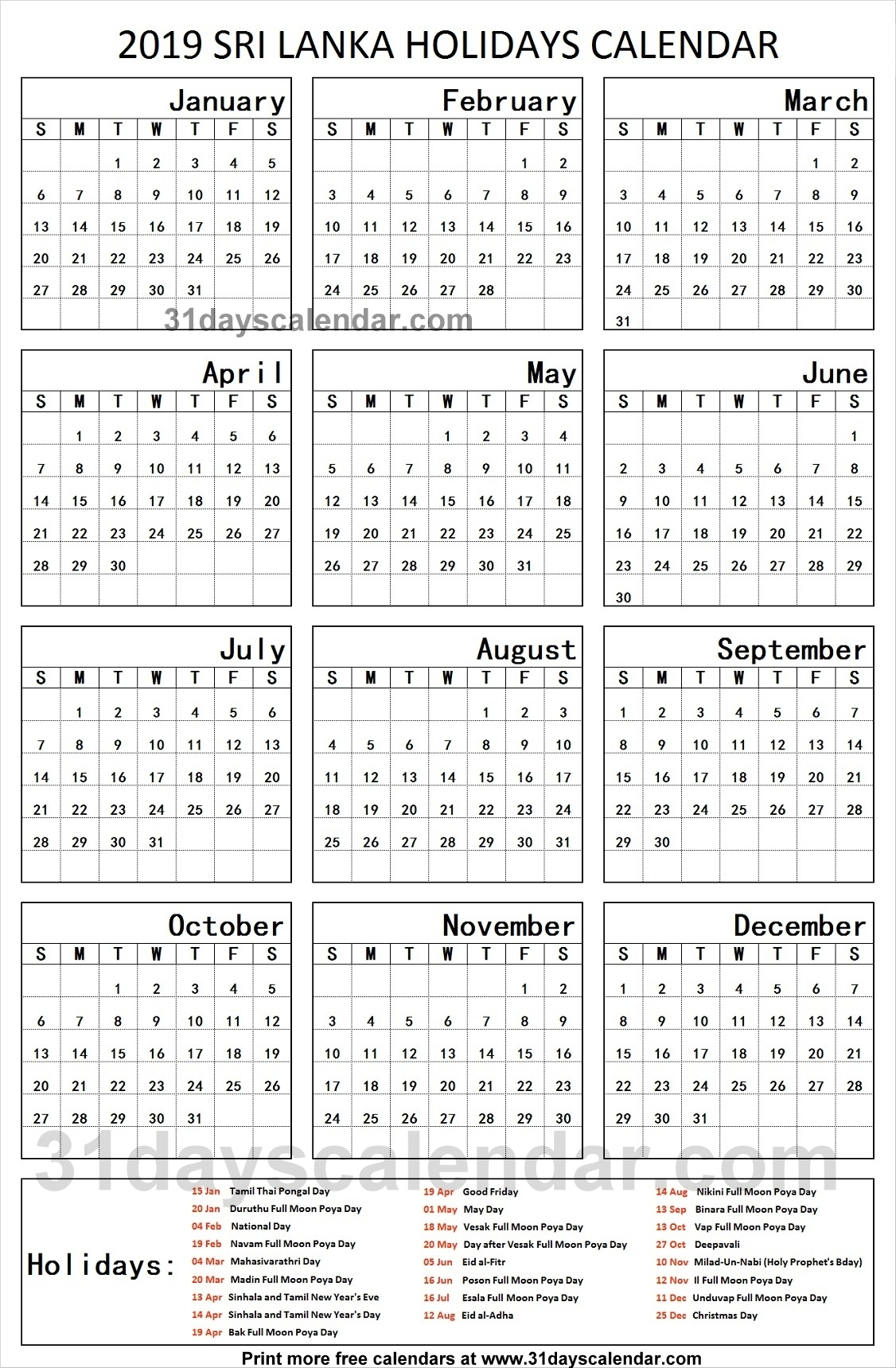 Sri Lanka National Holidays 2019 Calendar | 2019 Sri Lanka Holidays for List Ofhoidays In Sri Lanka