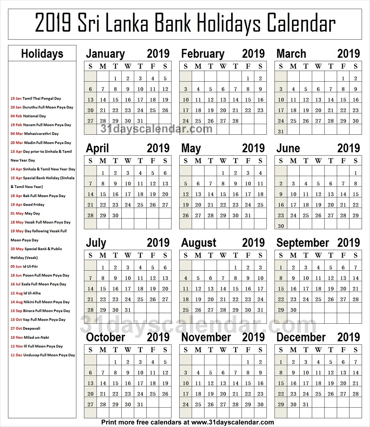 Sri Lanka National Holidays 2019 Calendar | 2019 Sri Lanka Holidays throughout List Ofhoidays In Sri Lanka