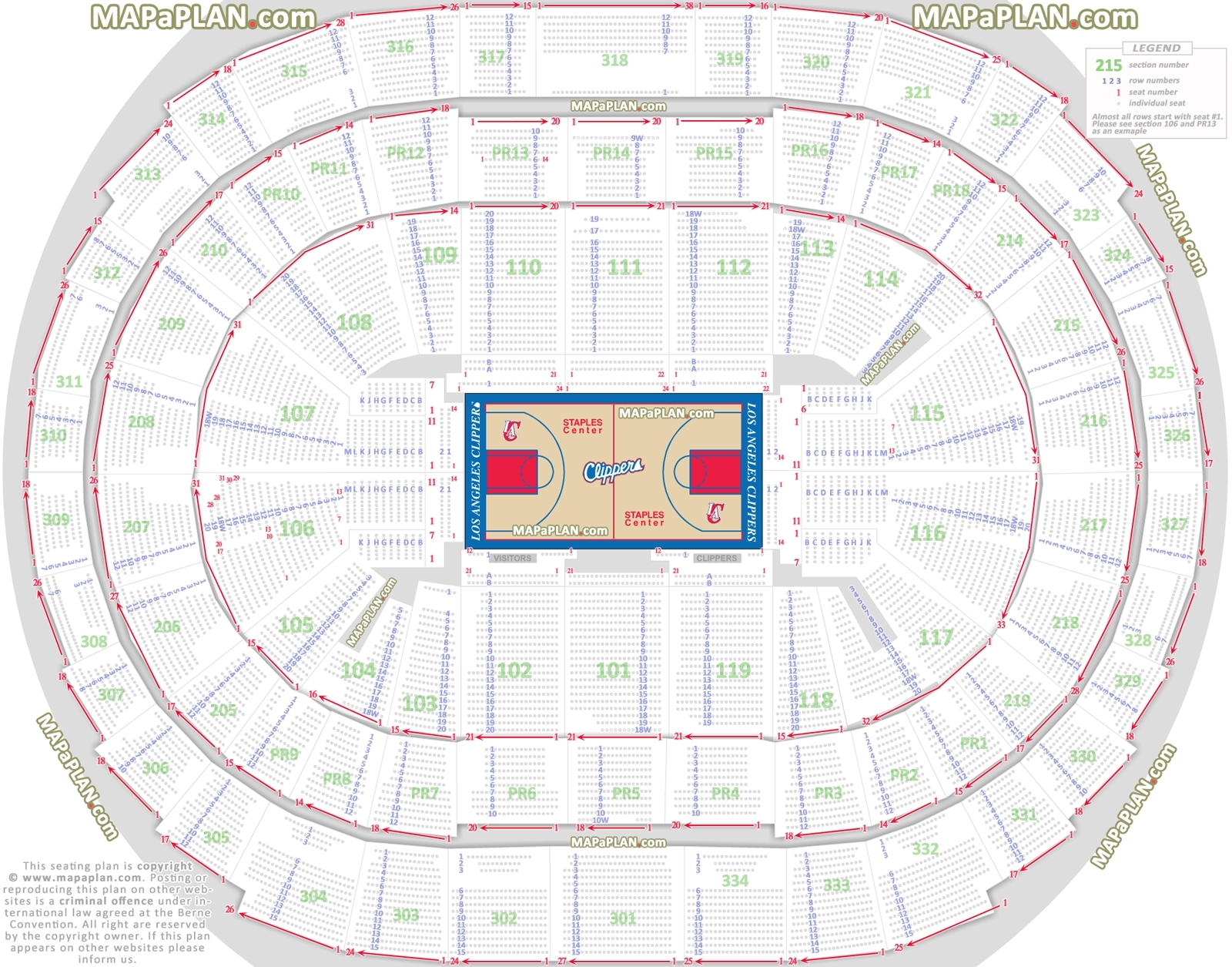 Staples Center Seat Numbers Detailed Seating Chart - La California pertaining to Verizon Center Seating Chart Pdf