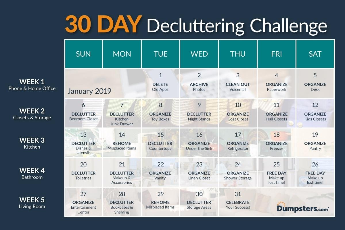 Start Fresh: 30 Day Decluttering Challenge | Dumpsters for 30 Day Declutter Challenge Calendar