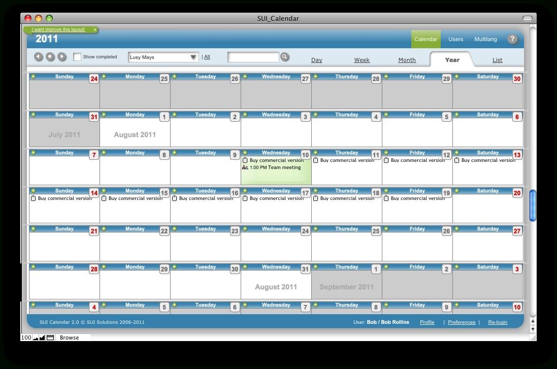 Sui Calendar 2.0 Online Help - Calendar Year View in Year At A View Calendar