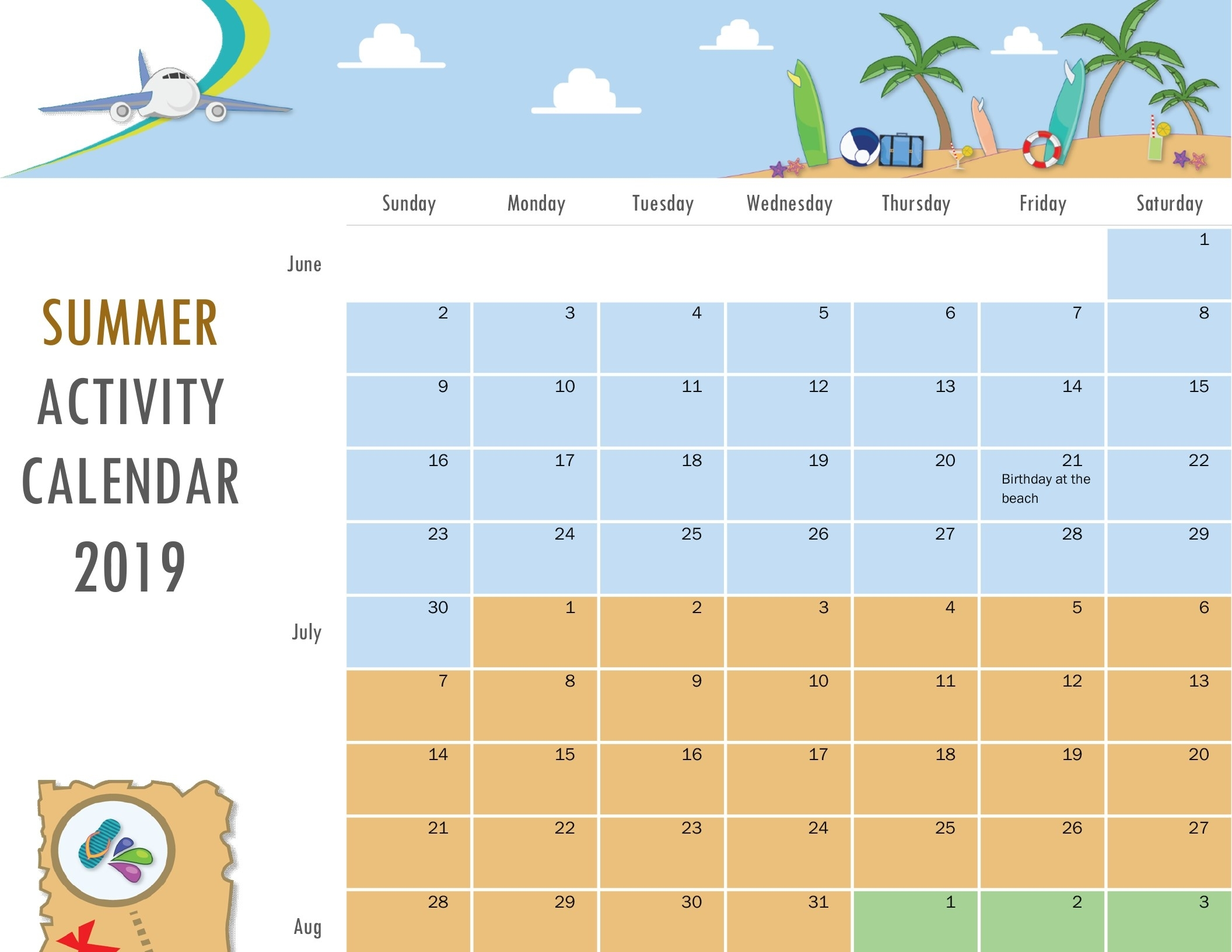 Summer Activity Calendar intended for Summer Picture For Birthday Calendars