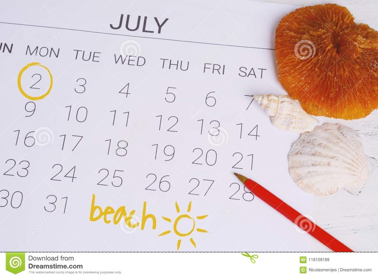 Summer Calendar Schedule. Stock Image. Image Of Birthday - 118109189 regarding Summer Picture For Birthday Calendars