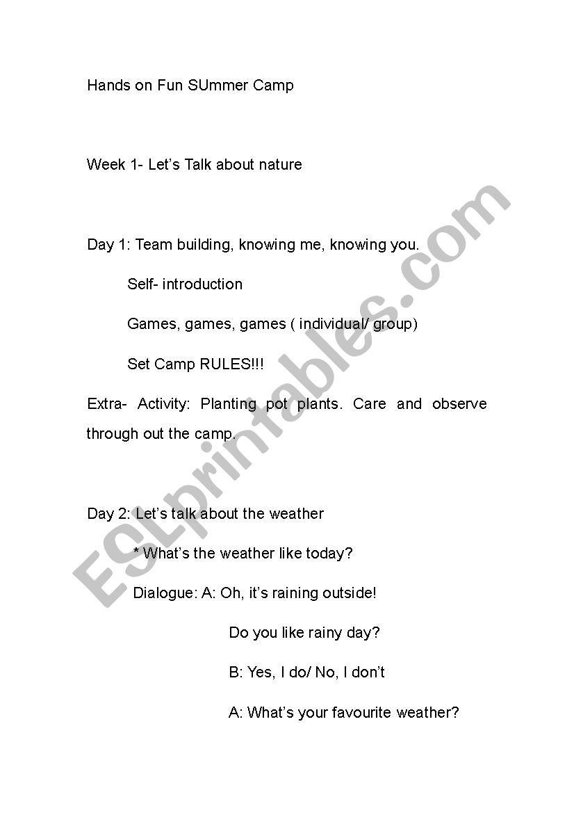 Summer Camp Lesson Plan - Esl Worksheetjhoe with Fun Summer Camp Lesson Plan